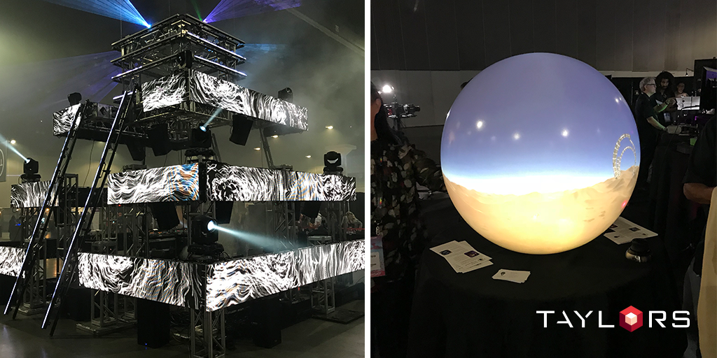 Where some virtual reality exhibits could bring a new view to land development (right) the spotlight was on the extravagant MEZO installation (left)