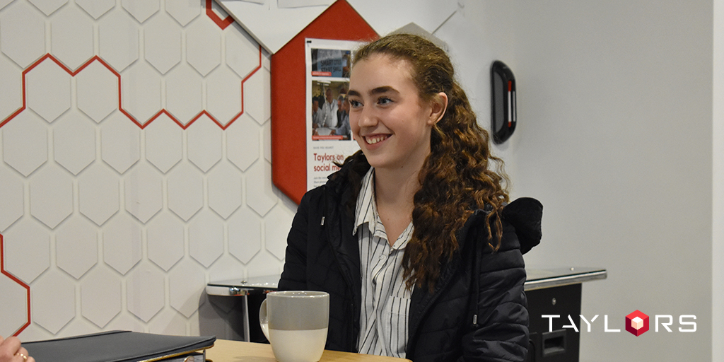 Work experience student, Elana, was all smiles following her time at Taylors